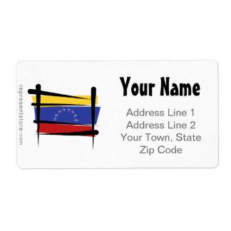 Venezuela Brush Flag Label