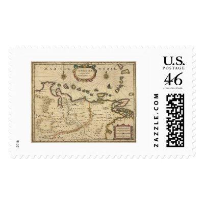 map of venezuela coast. Venezuela by Hondius Map - 1630 Postage Stamp by lc_maps