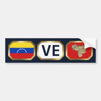 Venezuela Flag Map Code Bumper Sticker Car Bumper Sticker
