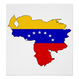 Venezuela Flag Map full size Poster