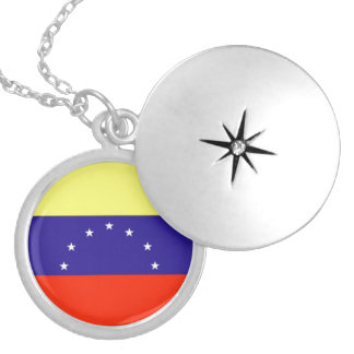 Venezuela Flag Silver Plated Necklace