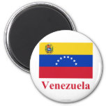 Venezuela Flag with Name 2 Inch Round Magnet