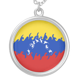 Venezuela Gnarly Flag Silver Plated Necklace