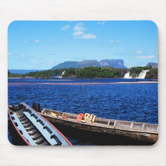 Venezuela Jungle Landscape with Boats Mouse Pad