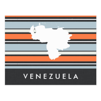 Venezuela Map: Modern Stripes Postcard