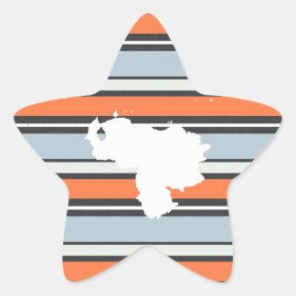 Venezuela Map: Modern Stripes Star Sticker