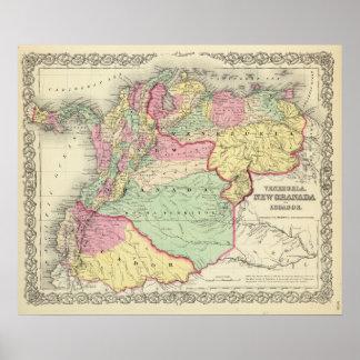 Venezuela, New Granada And Ecuador Poster