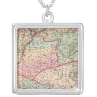Venezuela, New Grenada and Equador 2 Square Pendant Necklace