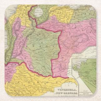 Venezuela, New Grenada & Equador Square Paper Coaster