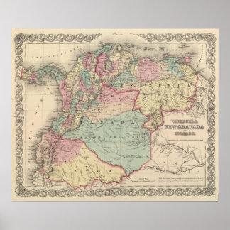 Venezuela, nueva Granada Colombia y Ecuador Póster