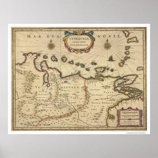 Venezuela por el mapa de Hondius - 1630 Poster