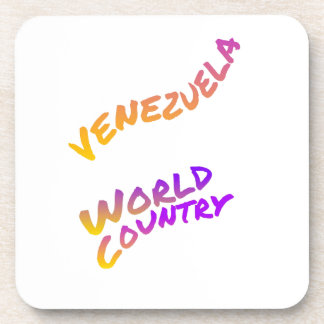 Venezuela world country, colorful text art beverage coaster