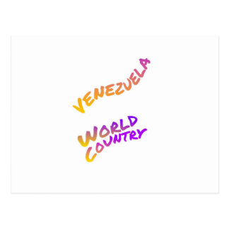 Venezuela world country, colorful text art postcard