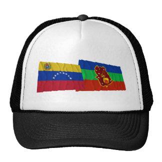 Venezuela y banderas que agitan de Amazonas Gorras