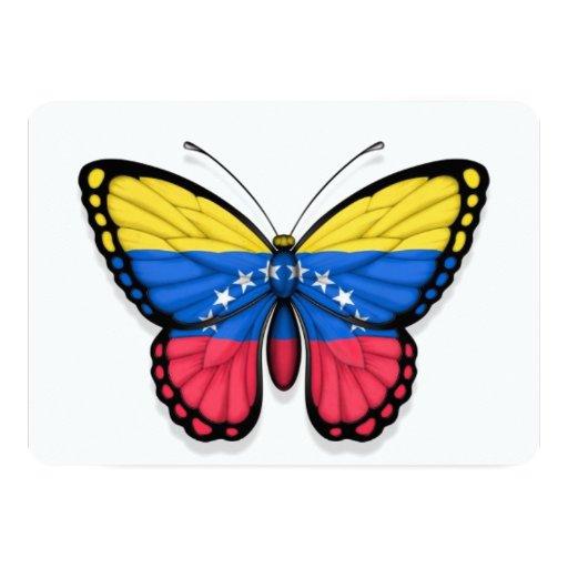 "Venezuelan Butterfly Flag 5"" X 7"" Invitation Card"