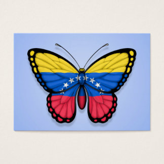 Venezuelan Butterfly Flag on Blue Business Card