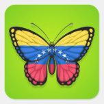 Venezuelan Butterfly Flag on Green Sticker