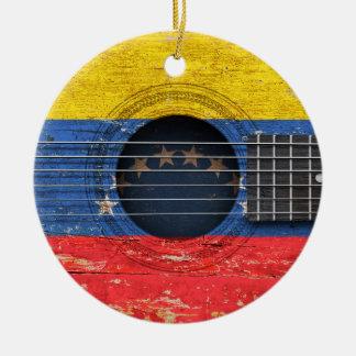 Venezuelan Flag on Old Acoustic Guitar Ceramic Ornament