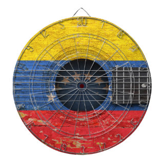 Venezuelan Flag on Old Acoustic Guitar Dartboard