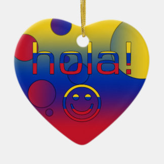 Venezuelan Gifts : Hello / Hola + Smiley Face Double-Sided Heart Ceramic Christmas Ornament