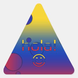 Venezuelan Gifts : Hello / Hola + Smiley Face Triangle Sticker