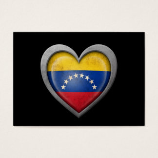 Venezuelan Heart Flag with Metal Effect Business Card