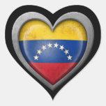 Venezuelan Heart Flag with Metal Effect Heart Stickers