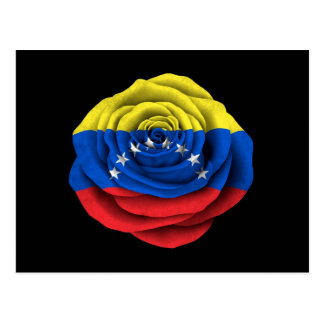 Venezuelan Rose Flag on Black Postcard