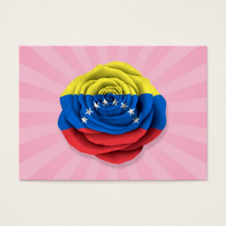 Venezuelan Rose Flag on Pink Business Card