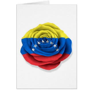 Venezuelan Rose Flag on White Card
