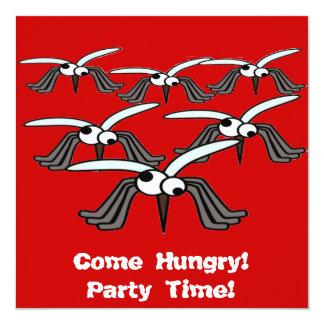 """¡Venga hambriento! ¡Vaya de fiesta el tiempo! Invitación 5.25"""" X 5.25"""""""