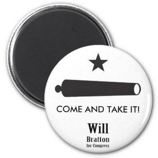¡VENGA TOMARLO! La bandera de Gonzales, Bratton Imán Redondo 5 Cm