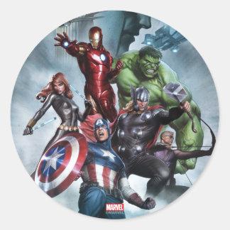 Vengadores contra el dibujo del Loki Pegatina Redonda