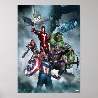 Vengadores contra el dibujo del Loki Póster