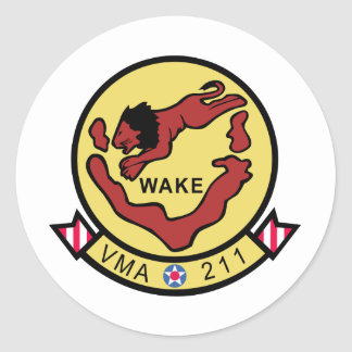 Vengadores de la isla Wake VMA-211 Pegatina Redonda