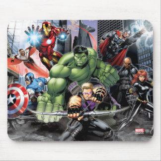Vengadores que defienden la ciudad mouse pad