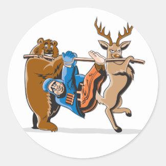 Venganza anti del animal de la caza pegatina redonda