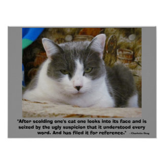 vengeful Grumpy kitty with - Charlotte Gray Quote Poster