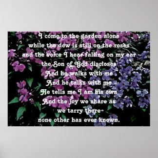Vengo al jardín solamente floral póster