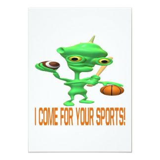 """Vengo para sus deportes invitación 5"""" x 7"""""""