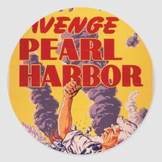 Vengúese el Pearl Harbor Pegatina Redonda