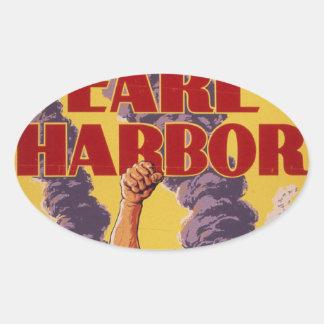 Vengúese el Pearl Harbor Pegatina Ovalada