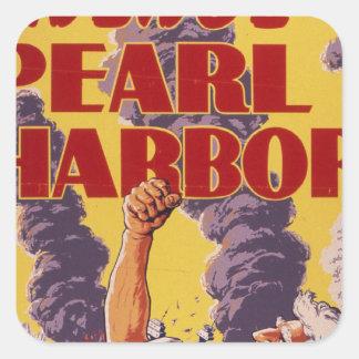 Vengúese el Pearl Harbor Pegatina Cuadrada