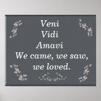 Veni Vidi Amavi - impresión del arte Póster