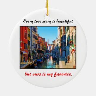 Venice Alley with Love Quote Ceramic Ornament