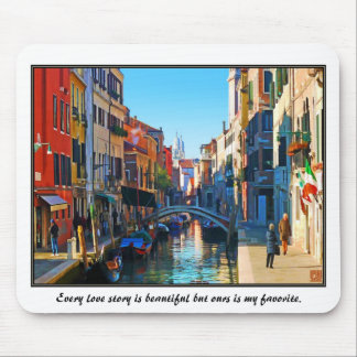 Venice Alley with Love Quote Mouse Pad