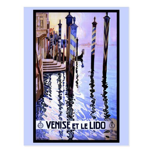 Venice and Lido Vintage Italian travel Poster Post Card