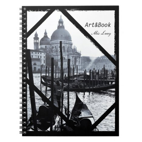 Venice, Architecture, Gondolas in BW (Notebook)