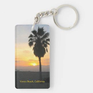 Venice Beach California Sunset Double-Sided Rectangular Acrylic Keychain