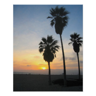 Venice Beach California Sunset Souvenir Poster